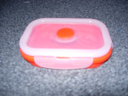 A folding silicone box, closed flat and fully open.