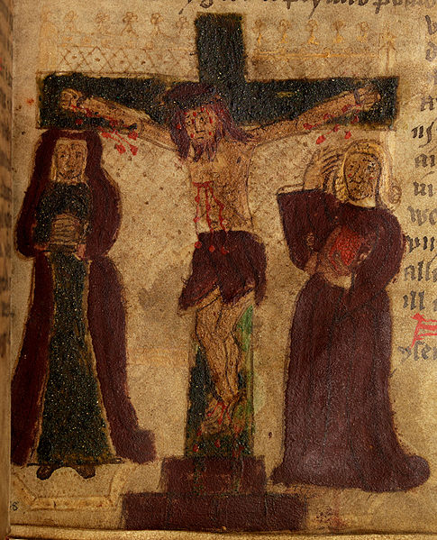 Welsh Manuscript Crucifixion, Wikimedia commons, no copyright