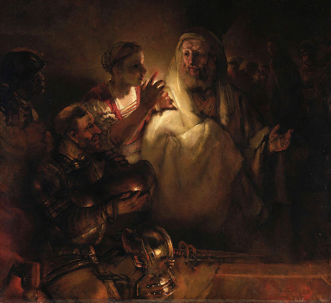 Rembrandt, the denial of St. Peter source wikimedia commons photo credit unknown no copyright
